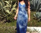 Silk Indigo Lady of the Stars  Handmade Maxi Dress