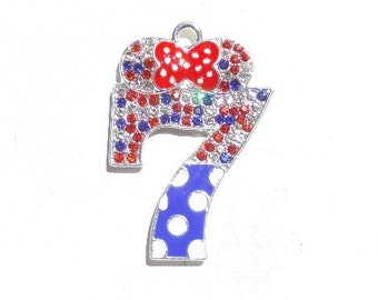 51mm Rhinestone and Enamel Minnie Mouse Inspired Number 7 Pendant, n10