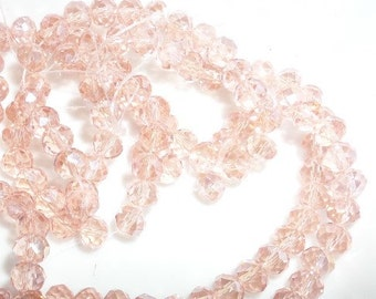 6mm, Light Salmon AB Color Crystal Glass Faceted Rondelle Beads 6mm, 100CT, S53