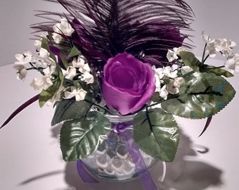 Small Floral Arrangement with Feather Purple