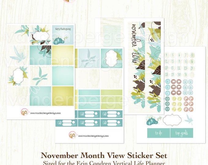 November Month View Kit for Erin Condren Life Planner or The MAMBI Happy Planners