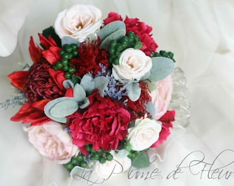 Ruby - Wedding Bouquet, red, cream, blush flowers. Roses, peonies, waratah with green berries and grey foliage. Cottage and native flowers.