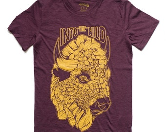 Bison graphic t shirt into the wild purple t shirt organic clothing for him unisex animal print