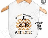 Baby's 1st Halloween Chevron Pumpkin Bib - Personalized with Name & Year - Monogram First Halloween Outfit