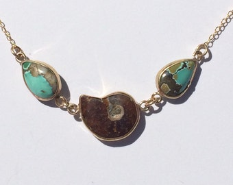 Turquoise Teardrops with Ammonite Fossil Gold Open Bezel Necklace