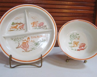 Little Bo-Peep Divided Plate and Bowl