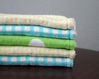Baby Wash Cloths - Neutral Kids Washcloths - Gingham - Polka Dots - Aqua - Yellow - Green - Set of 5 - Neutral Baby Gift