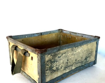 Wood and metal milk crate rustic
