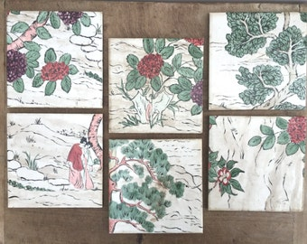 Antique hand painted tile