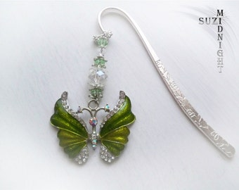 Butterfly Crystal beaded Metal Bookmark
