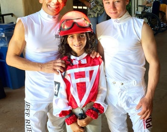 Special Order Only. Biscuit thoroughbred racing silk for kids.  Designed by Littlest Jockey owner Peggy Mauro AZ
