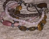 Multi Strand Gemstone - Rose Quartz - Leather - Glass - Hand forged Artisan Bracelet - Rustic Beaded Jewelry