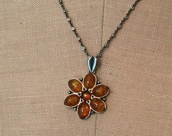 Amber Flower Pendant Necklace - Rustic Oxidized Box Satellite Chain - Wire Wrapped Gems - Artisan Jewelry