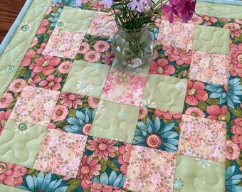 Quilted Table Topper - Spring Table Topper -  Quilted Patchwork Table Topper
