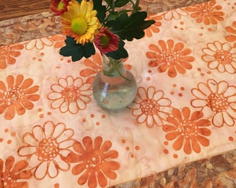 Quilted Table Runner -  Autumn Mums Table Runner  - Quilted Batik Table runner