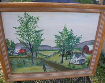 nice vintage 1940s 1950s signed scenic country BARN FARM oil painting on MASONITE