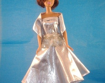 Barbie Silver Lame Cocktail Dress and Stole, Crystal & Pearl Beaded Waist Drape