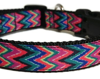 Personalized Dog Collar - Embroidered Multicolor Chevron - Adjustable Dog Collar - 1 Inch Wide
