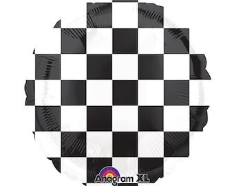 Black & White Checked Race Car Flag Mylar Balloon