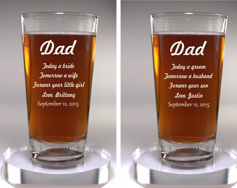 Dad Wedding Gift 2 Glass Set, Sport or Classic, Father of the Groom Gift, Father of the Bride Gift, Personalized Engraved