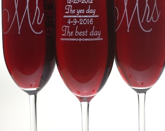 Mr and Mrs Champagne Glasses (2) with First Day, Yes Day and Best Day personalized with date on back of each, Wedding Gift