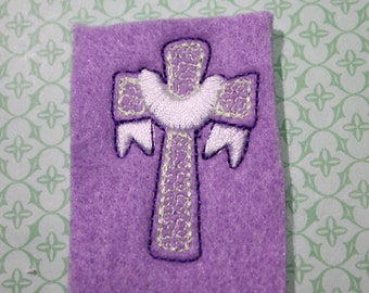 Draped Easter cross feltie, cross w/yellow swirls on lt purple felt Easter felt stitchie, 4 pcs for hair accessories scrapbooking o crafts