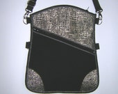 Sling Bag iPadmini Purse small haversack 4in1 Crossbody pack with detachable & adjustable strap Cute Hipster Bag mixed fabrics Black Silver