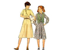 On Sale Girls Flared Shirtwaist Dress and Vest Sewing Pattern Girls Size 10 Bust 28 1/2 Style 2611 Vintage 1970s