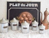 Canisters Vintage Set of 5 French Canisters - French Farmhouse Decor