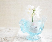 Westmoreland Glass Egg Cup - French Blue - Shabby Cottage Chic - FREE DOMESTIC SHIPPING