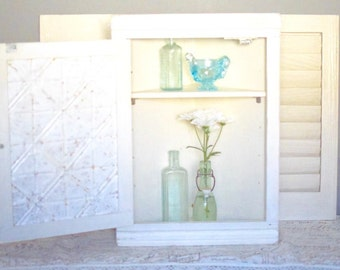 Vintage White Medicine Cabinet Curio Wall Cabinet Corner Cabinet Shabby Cottage Decor