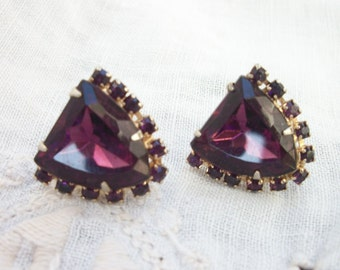 Stunning Vintage - Purple ~ Rhinestone Non Pierced Earrings / Screw back style - Sparkling  Costume Jewelry ~ Glam