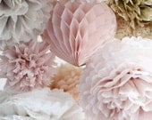 24  Large Tissue papr  Pom Poms - multi colors - weddings / party decorations / birthday