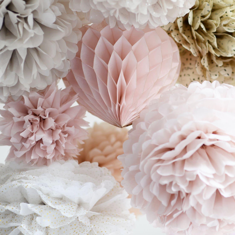 24 Large Tissue Papr Pom Poms Multi Colors Weddings