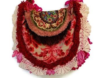 Victorian Bag Purse Handbag Antique Velvet Fringe