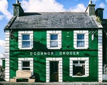 Ireland Photography, Architecture Art, Irish Building Photo, Green Decor, Colorful Store Front, Ireland Street Scene, Kitchen Art Print