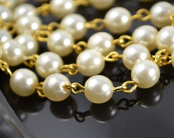 Pearl Chain 6mm Creme Pearls on Gold Links - Czech Glass Pearls - 3 Feet