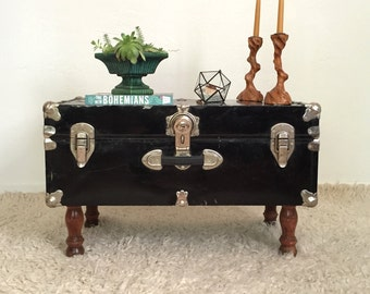 Upcycled Trunk Table, Black Steamer Trunk / Coffee Table, Furniture