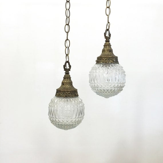 vintage swag lamp pendant light set plug in clear pressed glass. Black Bedroom Furniture Sets. Home Design Ideas