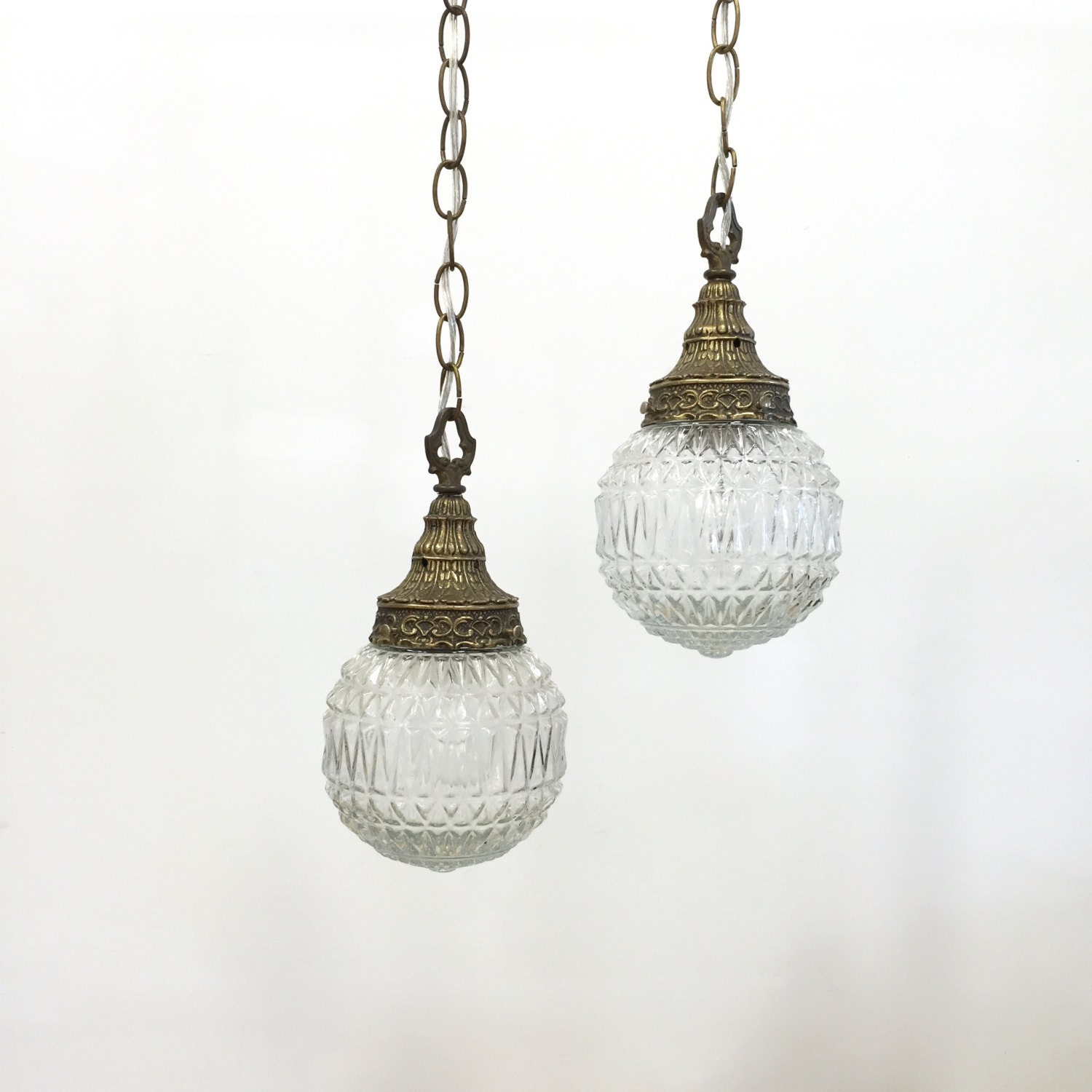 Vintage Swag Lamp Pendant Light Set Plug In Clear Pressed