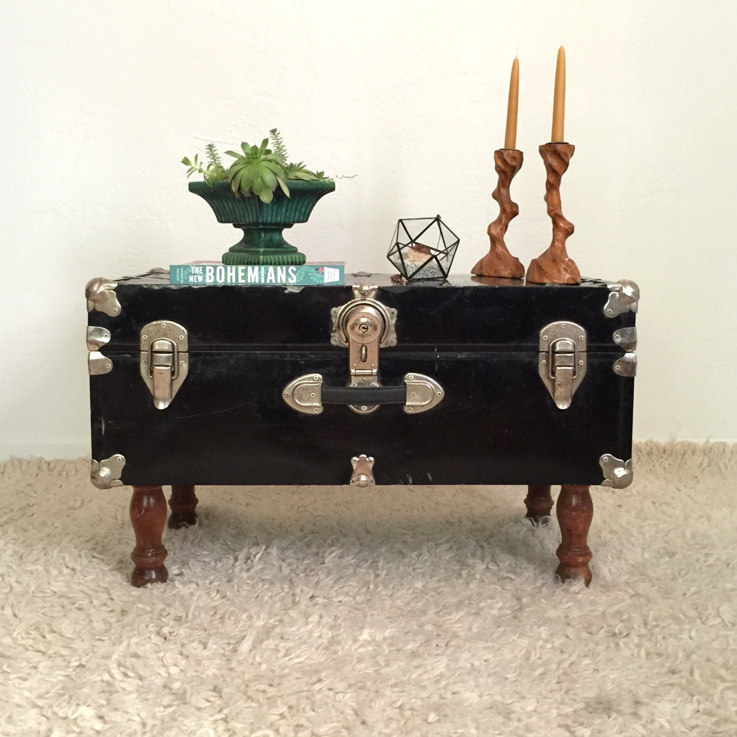 Upcycled Trunk Table Black Steamer Trunk Coffee Table