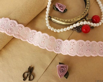 """20 meter 2.5cm 0.98"""" wide pink fabric cotton embroidery lace trim ribbon L11K232 free ship"""