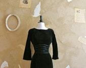 Vintage 1950s -Always A Classic- Little Black Velvet Wiggle Dress