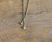Vintage 1940s Simple and Stunning Rhinestone Necklace -Delicate Dew Drop-
