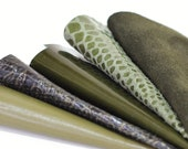5pcs  Scrap Leather Pieces , Green Leather, Olive Green Tones, Green Snakeskin