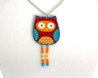Dangle owl necklace, orange polkadot owl, blue and green polkadot, beaded owl jewelry, hoot owl, animal necklace, red