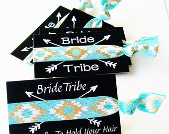 Bride Tribe - Party Favor, Bachelorette Party Bridal Shower, arrow gift hangover kit, ponytail, hair ties, to have and to hold