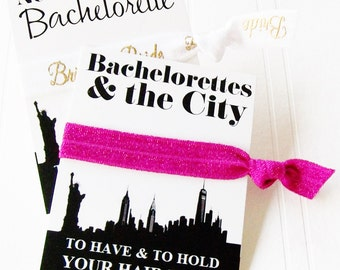 New York City Party Favor - Bachelorette Party Gift for Bridesmaid Maid of Honor Hangover kit goodie bag Bride hair tie to have and to hold
