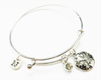 Sand Dollar Charm Bangle, Sand Dollar Silver Charm Bracelet, Initial Charm Bracelet, Personalized, Sand Dollar Personalized, Beach, Ocean