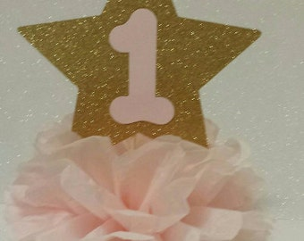 Twinkle Twinkle little star pink gold Glitter 1st Birthday party Table Centerpiece other Colors available
